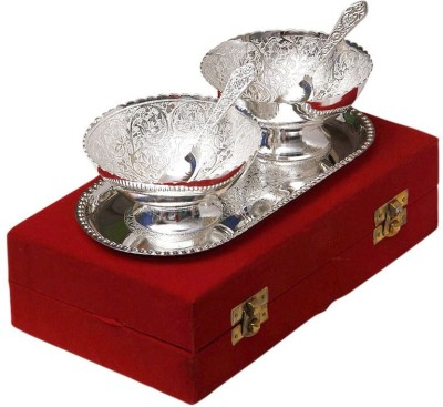 STS Enterprises Brass Bowl Set(Silver, Pack of 5)