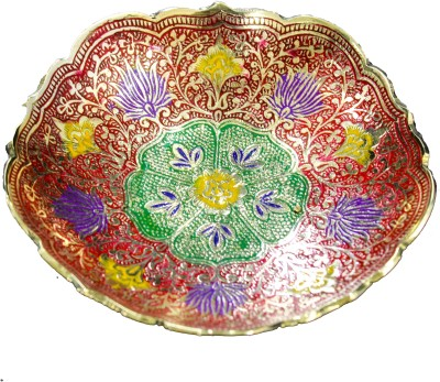 THE HOLY MART MINAKARI CARVED PLATE RED Brass Decorative Platter