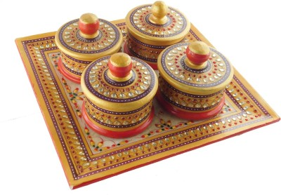 Chave Marble Supari Daan (Tray and Dibbi) with Real kundan work of Rajasthan - Red with blue border - Set of 4 Stoneware Decorative Platter