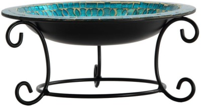 @home Glass Decorative Platter(Blue)