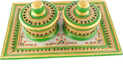 Chave Marble Tray and Dibbi with Real kundan work of Rajasthan Stoneware Decorative Platter