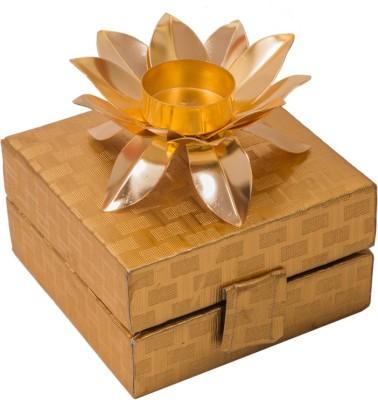 Shreeng Designer Lotus Shape Candle Holder Brass Decorative Platter