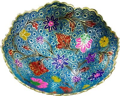 THE HOLY MART FLOWER MINAKARI BOWL BLUE Brass Decorative Platter