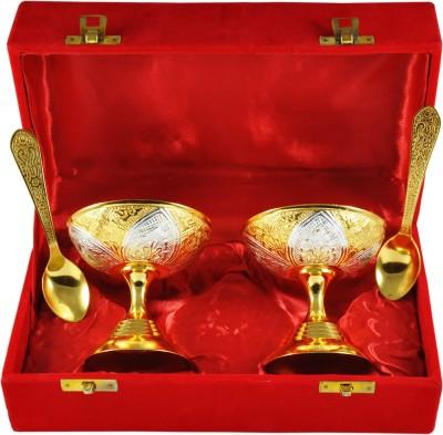 RajLaxmi RajLaxmi Silver And Gold Plated Ice Cream Bowl Set Bowl Spoon Tray Serving Set
