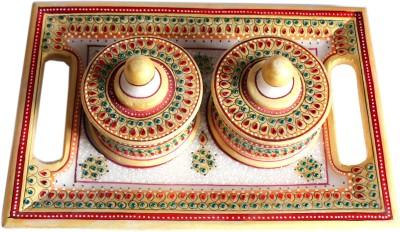 Raja Arts Designed Meenakari Work Dryfruit Server Stoneware Decorative Platter