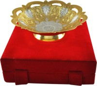 Shreeng Preety Silver And Gold Plated Bowl Brass Decorative Platter(Gold)