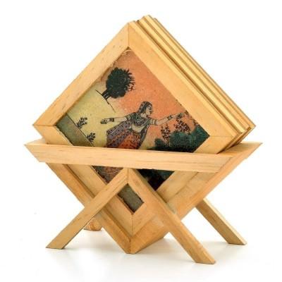 GAURA ART & CRAFTS Wooden, Glass Decorative Platter(Multicolor)