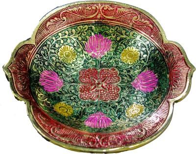 THE HOLY MART RADHA BRASS PLATE GREEN Brass Decorative Platter