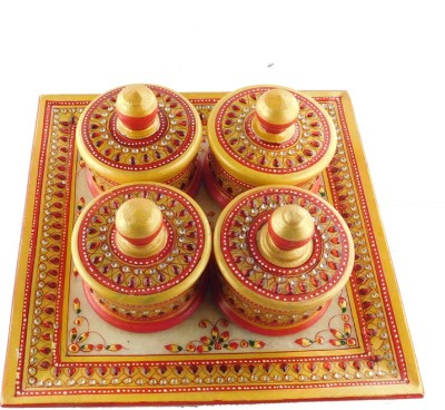 Chave Marble Supari Daan (Tray and Dibbi) with Real kundan work of Rajasthan - Red Colour - Set of 4 Stoneware Decorative Platter