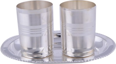GS Museum Amrapali Glass Set With oval Tray 3 Pcs. Pack of 3 Dinner Set(Silver Plated)