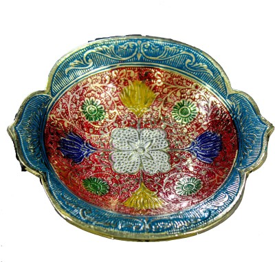 THE HOLY MART RADHA BRASS PLATE RED Brass Decorative Platter