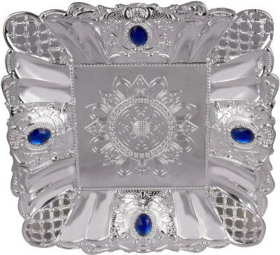 Bagathon India Square Silver Attractive Plastic Decorative Platter