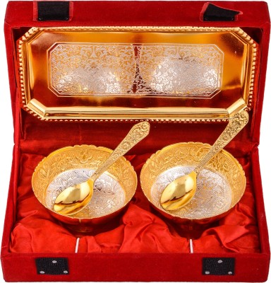 Shreeng Silver & Gold Plated 2 Mini Flower Bowl With Spoon With Tray Brass Decorative Platter
