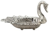 Nayahub White Metal Duck Serving Tray Silver Plated Decorative Platter(White)