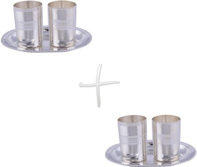 GS Museum Amrapali Glass 2 Set Dinner Set(Silver Plated)