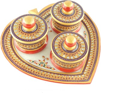 Chave Marble Heart shaped Tray and Dibbi with Real kundan work of Rajasthan Stoneware Decorative Platter