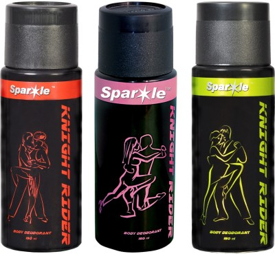 Sparkle Knight Rider Combo Offer (Sets of 3) 150 ml Each Deodorant Spray  -  For Men