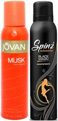 Jovan and Spinz Musk Women and Black Magic Body Spray - For Women  (300 ml, Pack of 2)