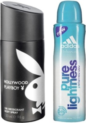 Playboy and Adidas Hollywood and Pure Lightness Body Spray - For Boys, Men, Girls, Women