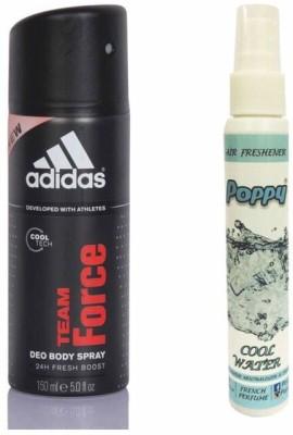 Adidas Adidas Team Force Deo + Poppy Spray Freshener Cool Water Free Deodorant Spray  -  For Boys, Girls, Men, Women