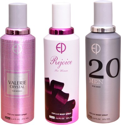 ESTIARA 1 VALERIE CRYSTAL::1 REJOICE::1 20 MEN Deodorant Spray  -  For Men, Women