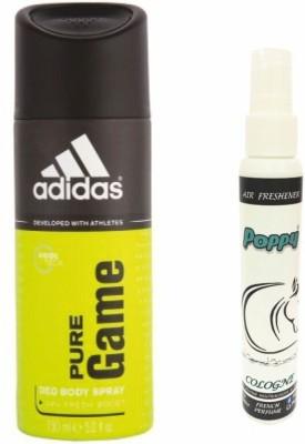 Adidas Adidas Pure Game Deo + Poppy Spray Freshener Cologne Free Deodorant Spray  -  For Boys, Girls, Men, Women