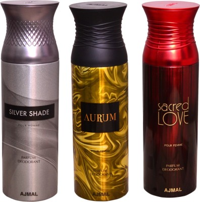 AJMAL 1 SILVER SHADOW::1 AURUM::1 SACRED LOVE Deodorant Spray  -  For Women