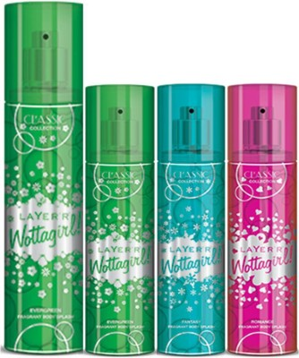 Layer,r Layer,r Wottagirl Romance 135ml, Evergreen60ml,Fantsy60ml,Romace60ml Body Spray(Set of4) Body Spray  -  For Women