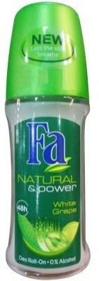 Fa Natural & Power Wite Grape Deodorant Roll-on  -  For Men, Women