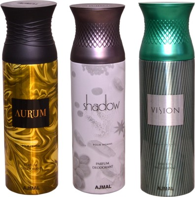 AJMAL 1 SHADOW FOR HIM::1 VISION::1 AURUM Deodorant Spray  -  For Women