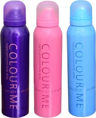 COLOR ME 1 SKY BLUE::1 PINK::1 PURPLE DEO Deodorant Spray  -  For Women