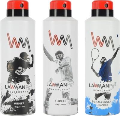 LAWMAN PG3 Winger , Flicker , Challenger Deodorant Spray  -  For Men