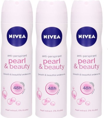 Nivea Anti-Perspirant Pearl And Beauty Smooth and Beautiful Underarms 48h ( Pack of 3 ) Deodorant Spray - For Men, Women, Girls, Boys