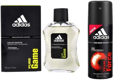 Adidas Lavish Life Combo In Pure Game EDT & Team Force Deo Body Spray  -  For Boys, Men