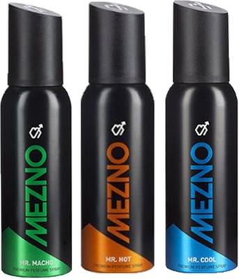 Mezno Fragrance Deodorant Combo of 3 Body Spray  -  For Men