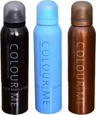 COLOR ME 1 SKY BLUE::1 BLACK::1 OUDH DEO Deodorant Spray  -  For Men