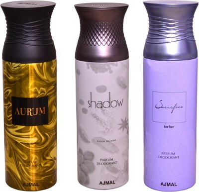 AJMAL 1 AURUM::1 SHADOW FOR HIM::1 SACRIFICE FOR HER Deodorant Spray  -  For Men