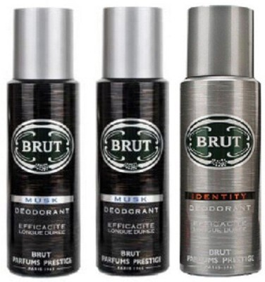 Brut 2 Musk & 1 Identity Body Spray  -  For Men
