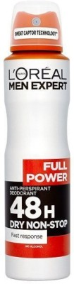 L,Oreal Paris Full Power 48 H Dry Non Stop Deodorant Spray  -  For Men