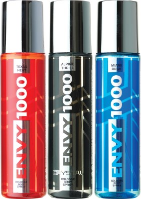 ENVY 1000 Texas Heat, Alpine Thrill & Miami Rush Crystal Deo Combo (Pack of 3) Body Spray  -  For Men