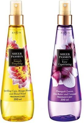 Avon Sheer Passion (Alluring & Tempting) - 50 ml each Body Mist  -  For Women, Girls