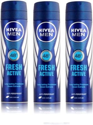 Nivea Men Fresh Active Long Lasting Anti-Perspirant Pack of 3 Deodorant Spray  -  For Men