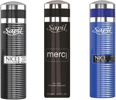 Sapil MERCI NICE FEELING BLACK&BLUE COMBO SET OF 3PCS Body Spray  -  For Men