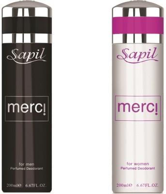 Sapil Merci Men & Women combo set of 2pcs Body Spray  -  For Men
