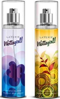 Layerr Wottagirl Combo Set Of 2 Mystic Island, Fresh Citrus Body Mist - For Girls, Women(135 ml)