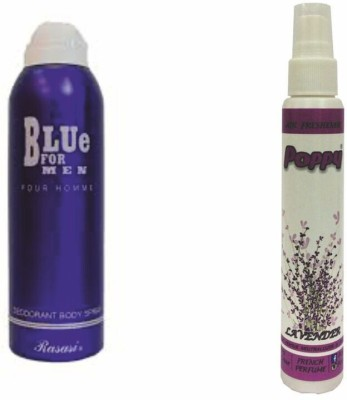 Rasasi Rasasi Blue Deo + Poppy Spray Freshener Lavender Free Deodorant Spray  -  For Boys, Girls, Men, Women
