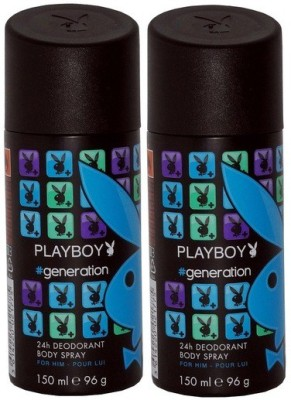 Play Boy Pack of 2 Generation Men Deo Deodorant Spray - For Men(300 ml)