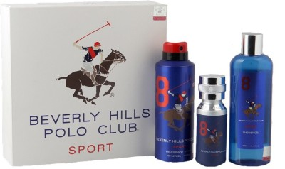 Beverly Hills Polo Club No. 8 Combo of Mens Perfume Deo& Shower Gel Perfume Body Spray  -  For Men