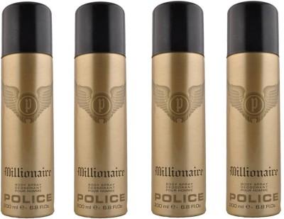 Police Set Of 4 Millionarie Deo Deodorant Spray  -  For Men