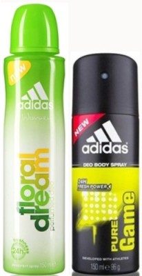 Adidas Floral Dream and Pure Game Body Spray - For Boys, Men, Girls, Women